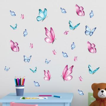 Set stickere decorative perete copii - Fluturasi 40x60