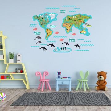 Set stickere decorative perete copii - Harta Lumii cu animale 60x90