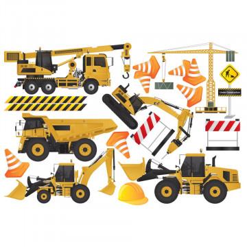 Set stickere decorative perete copii - Masinile de constructii 60x90