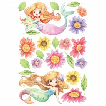 Set stickere decorative perete copii - Mica Sirena, 60x90cm