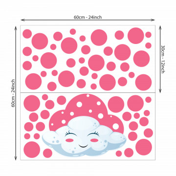 Set stickere decorative perete copii - Norisorul roz , 60x60cm