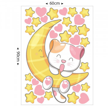 Set stickere decorative perete copii - Pisicuta pe luna 60x90