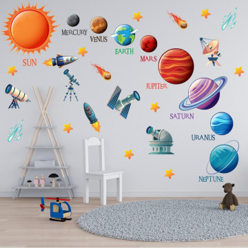 Set stickere decorative perete copii - Planetele22, 60x90cm