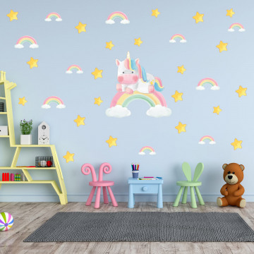Set stickere decorative perete copii - Unicornul pe curcubeu, 60x90cm