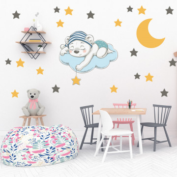 Set stickere decorative perete copii - Ursuletul adormit, 60x60cm