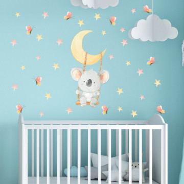 Set stickere decorative perete copii - Ursuletul Koala in leagan pe luna 40x60