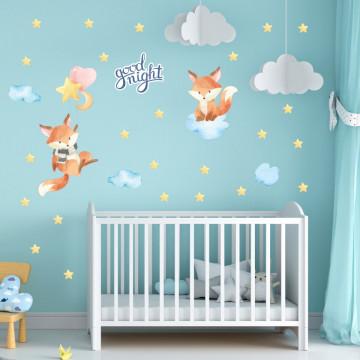 Set stickere decorative perete copii - Vulpitele pe norisori, 60x90cm