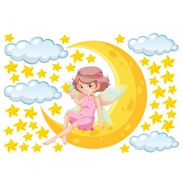 Set stickere decorative perete copii - Zana pe luna 60x90