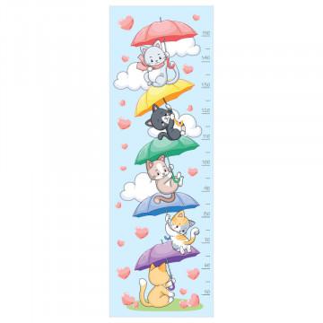 Sticker perete Masurator pentru copii - Pisicutele cu umbrele, 40x120 cm