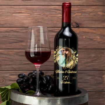 Sticla vin Personalizata - Nume, poza, data si mesaj