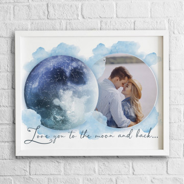 Tablou personalizat Harta Stelelor - Love you to the moon and back...