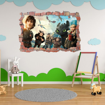 3D Sticker perete 60x90cm - How to train your dragon 1