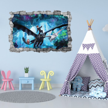 3D Sticker perete 60x90cm -  How to train your dragon 2