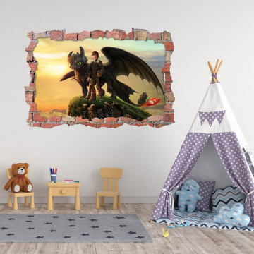 3D Sticker perete 60x90cm - How to train your dragon 3
