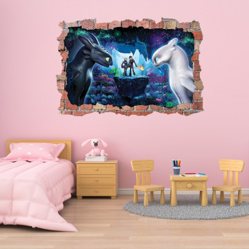 3D Sticker perete 60x90cm - How to train your Dragon4