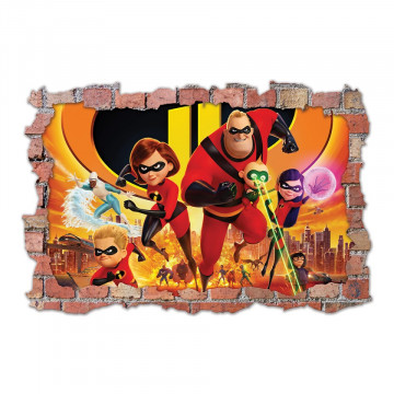 3D Sticker perete 60x90cm - The Incredibles
