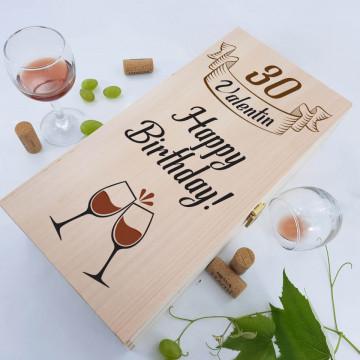 Cutie de vin dubla personalizata - Happy Birthday!