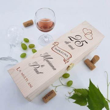 Cutie vin personalizata - 25 de ani impreuna