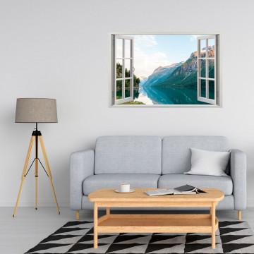 Fereastra 3D, Sticker perete - Peisaj cu lac in munte