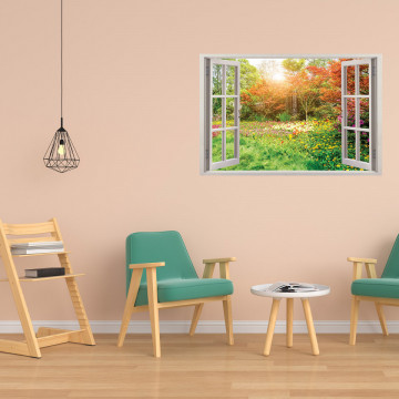 Fereastra 3D, Sticker perete - Peisaj cu o poiana inflorita