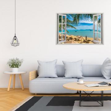 Fereastra 3D, Sticker perete - Peisaj cu ocean si plaja