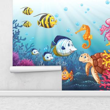 Fototapet autoadeziv copii - Animalute din ocean