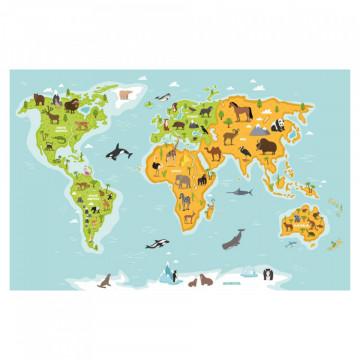 Fototapet autoadeziv - Harta Lumii cu animale