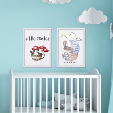Set 2 tablouri - Animalutele Little & Cute Pirates