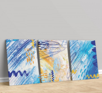 Set 3 Tablouri Canvas, Blue drawing