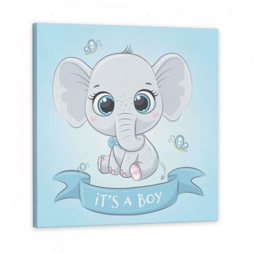 Set 3 Tablouri Canvas, Elefantul It's a boy