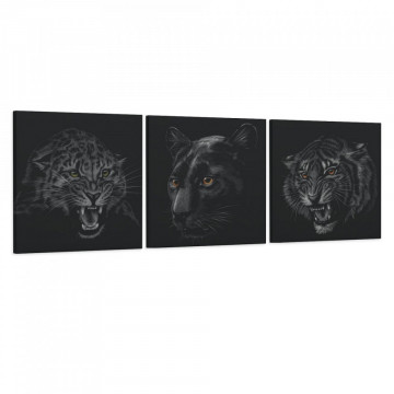 Set 3 Tablouri Canvas, Leopard & Pantera & Tigru