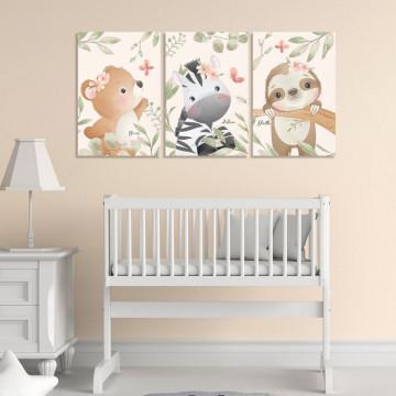 Set 3 Tablouri Canvas, Urs & Zebra & Lenes