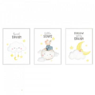 Set 3 tablouri - Ursuletul pe nori