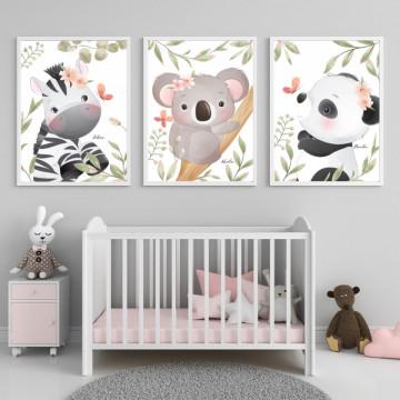 Set 3 tablouri - Zebra, Koala si Panda