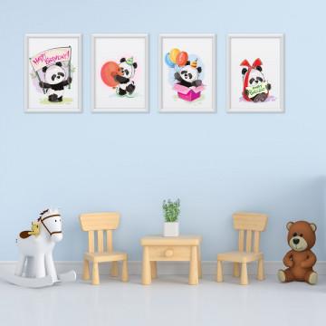 Set 4 tablouri - Ursuletii Panda Happy Birthday
