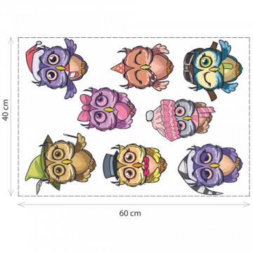 Set 8 stickere decorative perete copii - Bufnitele, 40x60cm