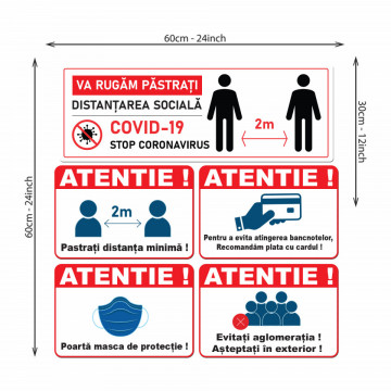 Set Stickere - Autocolante Informare si atentionare Coronavirus - Covid-19, Model 7