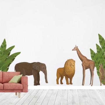 Set stickere decorative perete copii - African animals, 60x90 cm