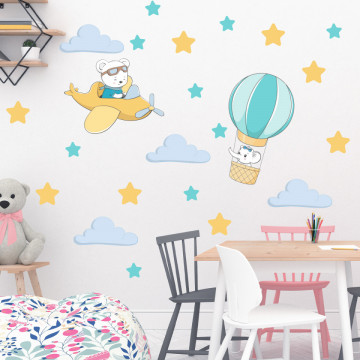 Set stickere decorative perete copii - Animale zburatoare4 , 60x60 cm