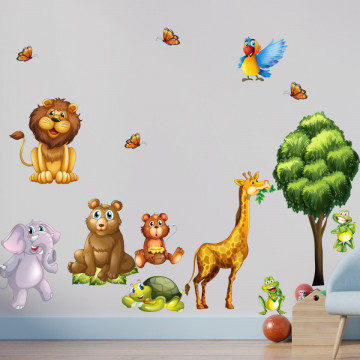 Set stickere decorative perete copii - Animalele Junglei, 60x90cm