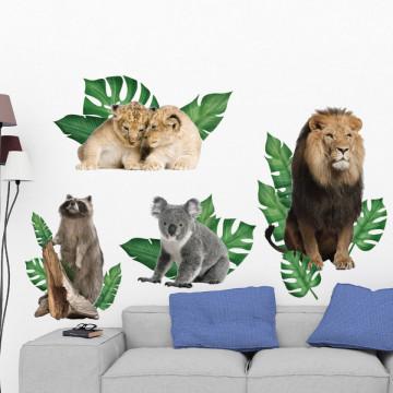 Set stickere decorative perete copii - Animalele Junglei6 , 60x90cm