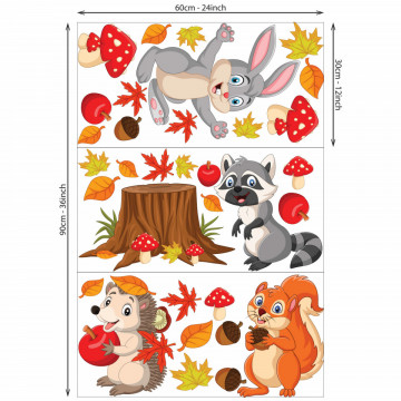 Set stickere decorative perete copii - Animalele toamnei8 , 60x90 cm