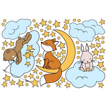 Set stickere decorative perete copii - Animalute pe norisori 60x90