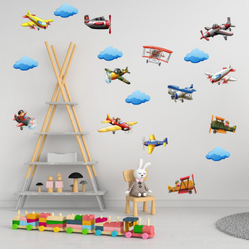 Set stickere decorative perete copii - Avioane, 60x90cm