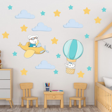 Set stickere decorative perete copii - Avionul & Balonul 60x90cm