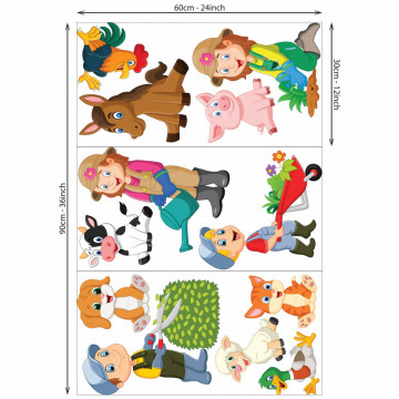 Set stickere decorative perete copii - Ferma14, 60x90cm