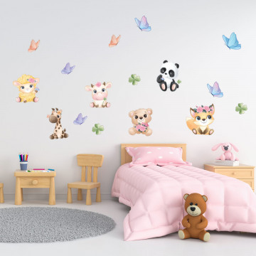 Set stickere decorative perete copii - Pui de animale2, 60x90cm
