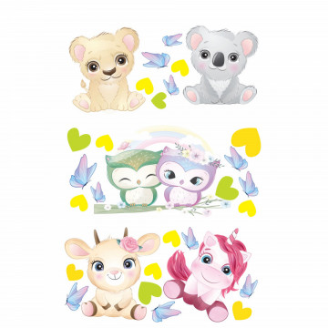 Set stickere decorative perete copii - Pui de animale4, 60x90cm