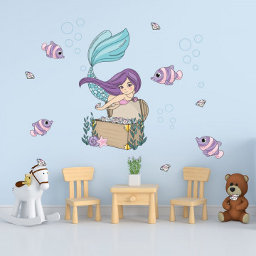 Set stickere decorative perete copii - Sirena 60x90cm