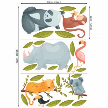 Set stickere decorative perete copii - Tropical animals2, 60x90 cm
